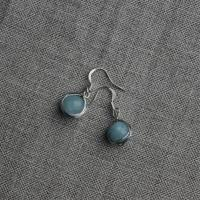 Handmade earrings with aquamarine and silver-plated wire