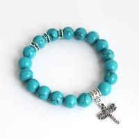 Howlite Bracelet with dragonfly and crystals