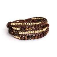 Wrap Bracelet from Tiger eyes beads and hemp cord