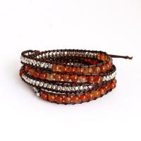 Wrap Bracelet from Cat eyes beads and hemp cord