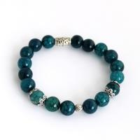 Gemstone bracelet from dragon veins agate, navy blue