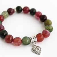 Bracelet from colored agate with heart pendant