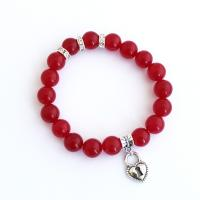 Agate bracelet with heart pendant in red