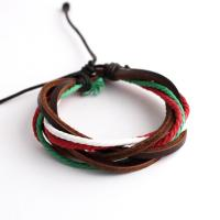 Unisex bracelet from leather and colored cords
