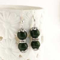 Gemstone earrings with jade beads, dark green