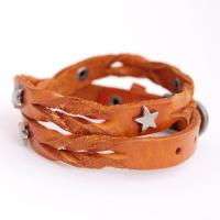 Leather Bracelet with metall stars, light brown
