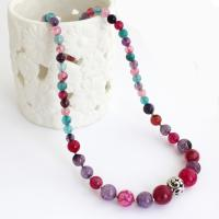 Bright necklace from colored agate beads