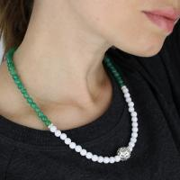 Agate and jade necklace with silver elements