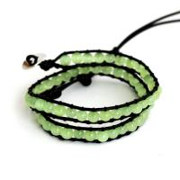 Wrap Bracelet with cat's eyes beads in mint color