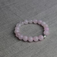 Rose quartz bracelet with silver plated heart