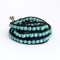 Wrap bracelet with howlite beads and leather cord