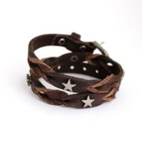 Wrap bracelet from leather with metall stars, brown