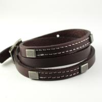 Leather wrap bracelet with studs and stiching