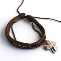 Leather bracelet with chain and clover leaf, brown