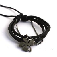 Leather bracelet with chain and clover leaf, black