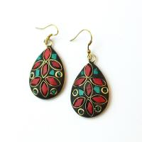 Beautiful drop earrings with pieces of gemstones, red