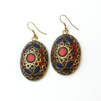 Oriental earrings with gemstone pieses, purple-red