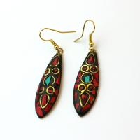 Long earrings with art resin and gemstone pieces, red