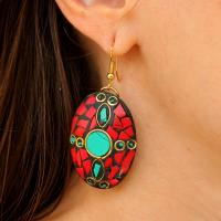Handmade earrings from art resin and gemstones