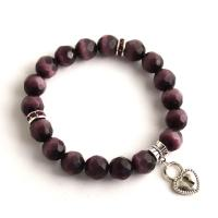 Cat's eye bracelet from dark purple faceted beads