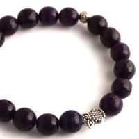 Bracelet from amethyst beads with small owl