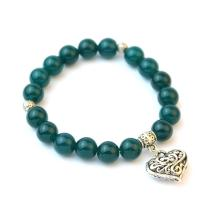 Blue-green agate bracelet with heart pendant