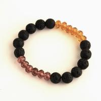 Lava bracelet with rondelle glass beads