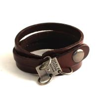 Wrap leather bracelet with vintage metal tag