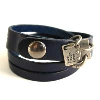 Leather wrap bracelet with metal tag