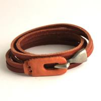 Leather wrap bracelet with hook closure