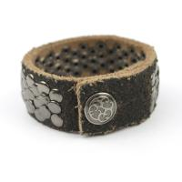 Suede Leather Fish Scale Studded Bracelet