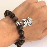 Cat's eye bracelet with angel in brown