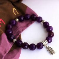 Gemstone Amethyst Bracelet with small owl