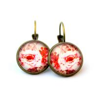 Cabochon earrings with red roses