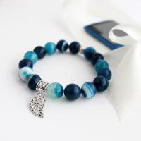 Gemstone Stripe Agate Bracelet, blue