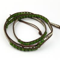Agate beads wrap bracelet in green
