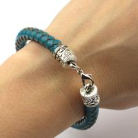 Braided Leather Bracelet in navy blue