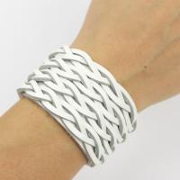 White cuff leather bracelet