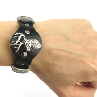 Leather bracelet with deer