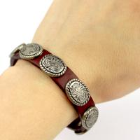 Leather bracelet with rivets in dark red