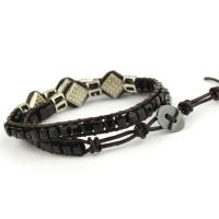 Glass beads wrap bracelet in black