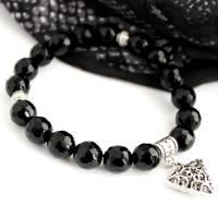 Gemstone Agate Bracelet, black/faceted