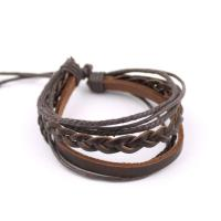 Adjustable leather bracelet with braided band