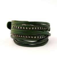 Stylish wrap bracelet in dark green