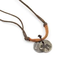 Leather necklace with deer pendant