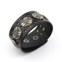 Wide leather cuff bracelet with big studs