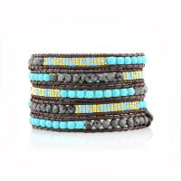 Wrap bracelet Turquoise and grey