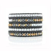 Wrap leather bracelet Black and Silver