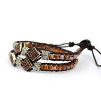 Wrap bracelet from glass beads orange