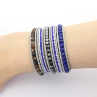 Agate beads wrap bracelet on grey leather